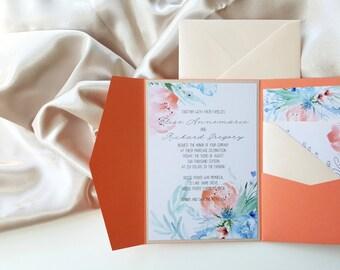 Pocket Wedding Invitation Floral Invitation Spring Invitations for wedding Peach Wedding Invite {Blaine design}