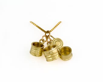 3 unique canned cans, 3d charm or chain pendant, 14kt gold tin Can