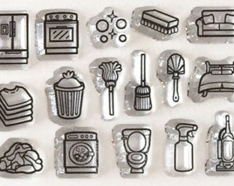 chore stamps, housework planner stamps, planner sets, planner accessories, cleaning stamps, bullet journal stamps, clear planner stamps,