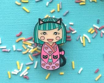 SECONDS SALE! Cute Enamel Pin, Kawaii Cat Kokeshi Doll, cute lapel pin, Japanese doll brooch, kawaii accessories, kawaii fashion