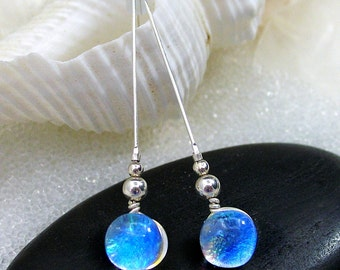 Translucent Mermaid Tears Blue Opal Dichroic Glass Earrings, Translucent Tropical Blue Drop Earrings and Argentium Sterling Silver Earrings