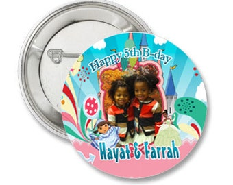 Princess Photo Pinback Button-3.5 inches- Any Character or theme