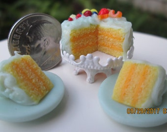 Dollhouse Miniature One Inch Scale 1:12 Lemon and Fruit layer cake by CSpykersMiniaturesUS