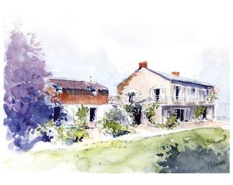 Custom House portrait, architecture, custom Illustration House, custom watercolor House drawing, original