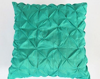 Mint  ruched pintuck pillow cover. Decorative pleated pillow.  26X26 inch floor  pillow.  Custom made