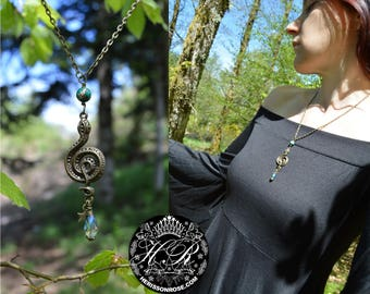 Snake necklace, witch pendant, dark mori strega fashion, medusa necklace, crystal snake pendant, witchy serpent necklace, snake jewelry