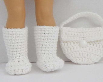 18 inch Doll Crochet Boots and Purse
