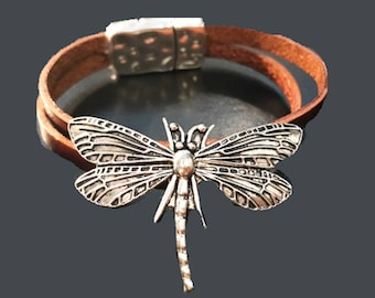 New Silver Butterfly Bracelet With Double Brown Leather Band and Magnetic Closure