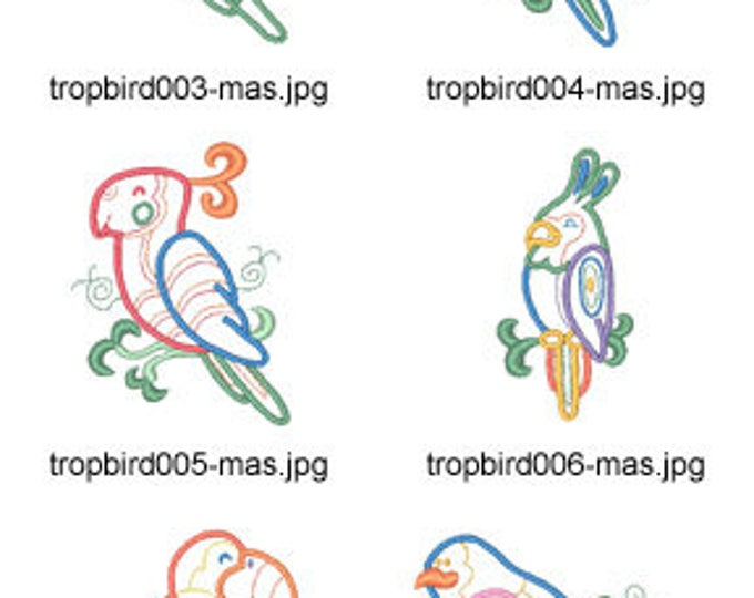 Tropical-Bird-Applique ( 10 Machine Embroidery Designs from ATW ) XYZ17E