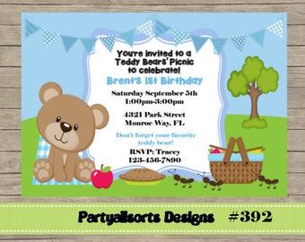 392 bricolaje - osos de peluche chico fiesta invitación de Picnic.