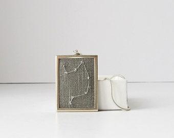Libra Necklace, September birthday gift, October birthday gift, zodiac necklace, hand embroidered jewelry