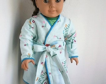 Owl Printed Flannel Robe with Satin PJs and Scuffs Handmade for American Girl Size Dolls, Night time Set for 18 inch dolls