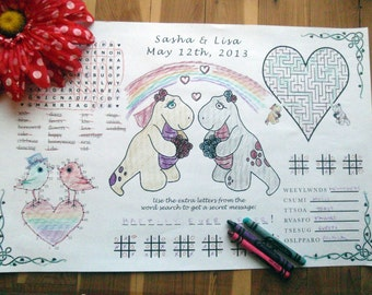Kids Wedding Activity Page PDF. Lesbian, Queer. Customized Favor, Placemat. Your Names & Date. You Choose Wedding Couple's Outfits.