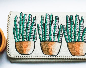 Vintage white wallet handpainted with plants