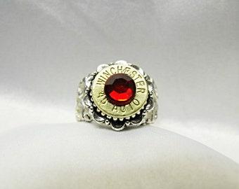 Bullet Ring 45 Caliber,  With Deep Red Crystal Swarovski Rhinestone Adjustable  Mens Womens Gift  Handmade