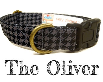 "Black Gray Houndstooth Dog Collar - Organic Cotton - Antique Metal Hardware - ""The Oliver"""