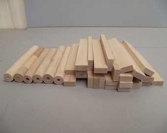 Wood Lumber for lumber truck. 32 pieces  6 each round and 26 flat