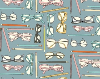 Blue Whimsical Retro Glasses Fabric Quilting Cotton [[by the half yard]]