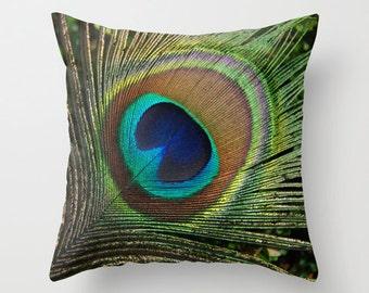 Peacock feather pillow art, decorative photo cushion, patio seating area peacock throw pillow, bird lover pillow, sofa decor pillow