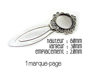 set of 3 bookmarks silver 20 mm cabochon