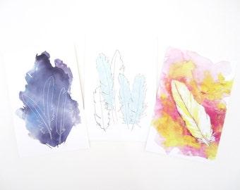Feather Postcard Print Fine Art Set - Set of 3 - Feather Cards