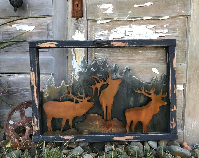 Vintage Window, Rustic Sign, Mountain decor, Elk Decor, Rustic Decor, Farmhouse Decor, Old Window decor, Rustic Home Decor, Cabin, Hunting