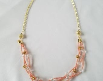 Braided Czech Glass Multi-Strand Necklace, Pink & Gold