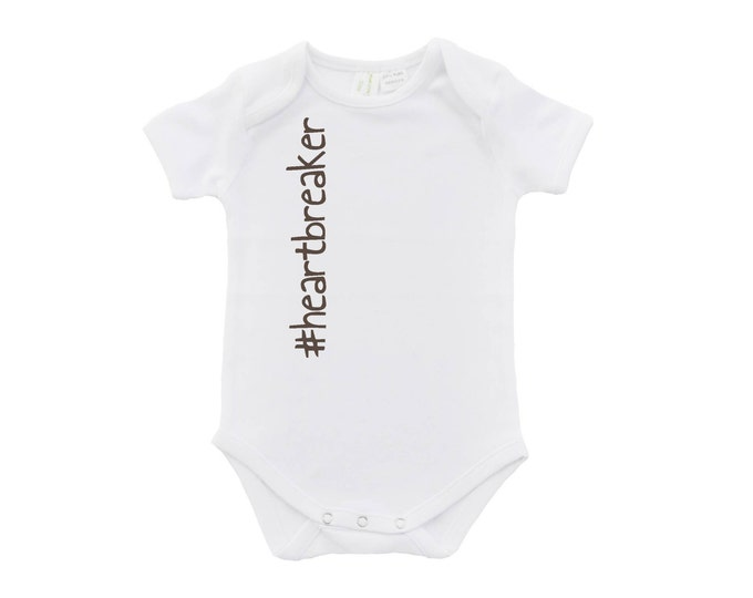 Heartbreaker Baby Bodysuit, #heartbreaker, Hashtag Heartbreaker, Valentine's Day Gift, Funny Baby Outfit, Funny baby Clothing, U-W-BS