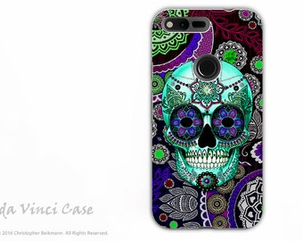 Purple Paisley Sugar Skull Google Pixel XL Tough Case - Dual Layer Protection - Dia De Los Muertos - Day of the Dead Google Pixel XL Case