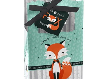 Mr. Foxy Fox Custom Favor Boxes - Custom Party Design for Baby Showers or Birthday Parties - Set of 12