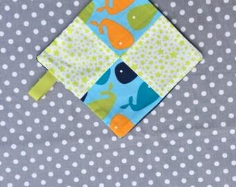 blanket pattern whale and stars blue orange Green
