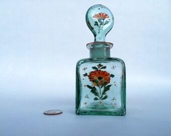 Handpainted glass decor, floral decor