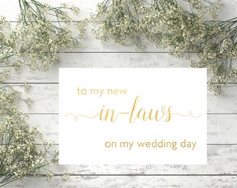 To my new in-laws on my wedding day Card for in-laws Parents card Wedding printables Gold Wedding cards Wedding invitation Wedding card