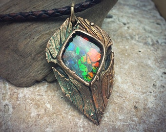 Rainbow Ammolite and Bronze PMC Necklace.