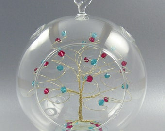 Christmas Ornament Custom Tree Sculpture Glass Ornament in Swarovski Crystal Elements