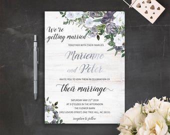 Printable Grey Wedding Invitation Set Gray and Silver Wedding Invitation Bohemian Rustic Wedding Invites Gray Barn Wedding Invitation Suite