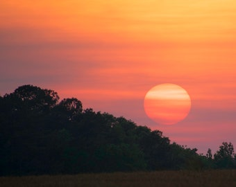 """Sunset, orange and violet, """"Georgia Sunset"""", Fine Art Photography Giclee, limited edition"""