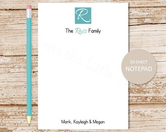 personalized monogram notepad . initial note pad . monogram block . family stationery . couples stationary . initial notepad