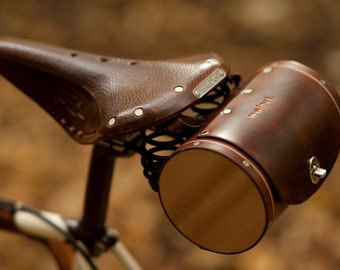 "Bicycle Saddle Bag - ""The Barrel Bag"" - Leather Bicycle Seat Bag"