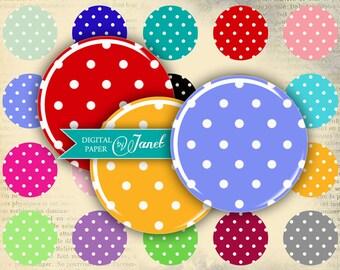 Polka Color - circles image - digital collage sheet - 1 x 1 inch - Printable Download
