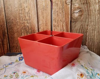 Vintage Mid Century Poppy Red SILVERWARE CADDY. Sturdy Caddy.