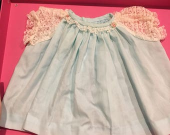Vintage Nannette blue dress with lace and ruffled bloomers