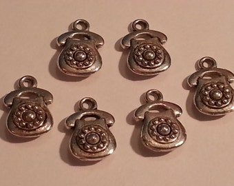 13mm Vintage Rotary Phone Charms/Pendants/Decor - 6pc - Tibetan Silver