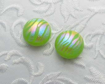 Dichroic Earrings - Stud Earrings - Post Earrings - Fused Glass - Glass Earrings - Small Post - Green Earrings X1745