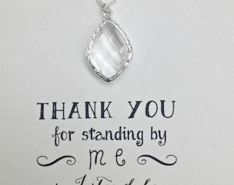 Set of 5 Bridesmaid Necklace Crystal, Crystal Bridal Necklace, Sterling Silver Necklace, Crystal Bridal Necklace, NK5