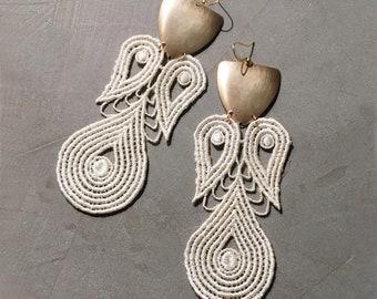 ivory and brass statement earrings   LYRE   modern earrings, brass and lace earrings, large earrings, dangle earrings, boho earrings