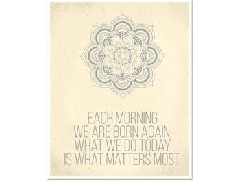 Buddha Today Matters Most Inspirational Modern Yoga Art Print Poster New Age Buddha Zen Quote Mandala
