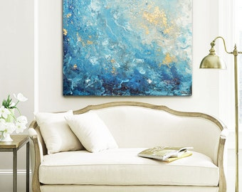 Captivating GICLEE PRINT Large Art Abstract Painting Blue White Wall Art Home Decor  Canvas Prints Coastal Wall
