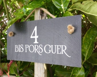 House sign. House number sign. Address plaque. House signage. Slate house sign. Outside sign.Porch sign.