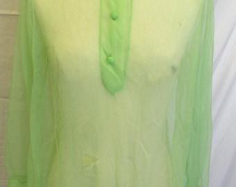 Lime Green Sheer Negligee Night Shirt Tunic Nightgown Sexy Nightshirt See Through Nightie Vintage Wedding Lingerie Honeymoon Sleepwear S